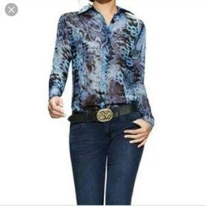 CAbi Python Print Long Sleeve Blouse Style #609